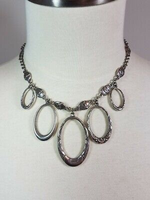 60s -70s Jewelry – Necklaces, Earrings, Rings, Bracelets BRIGHTON Swinging Sixties Necklace Oval Hoops Charms Dangle Retired Silver $29.99 AT vintagedancer.com