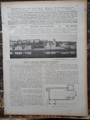 1909  Sdt. Bauzeitung 15 / Solnhofen Filialkirche Darmstadt Plastik Ausstellung