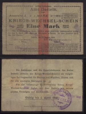 [18614] - Notgeld DATTELN, Amt, 1 Mark, 13.08.1914, Dießner 74.1a - mit rückseit