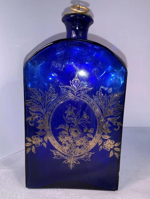Antique Cobalt Blue Liquor/medicine Bottle Gold Overlay With Original Stopper