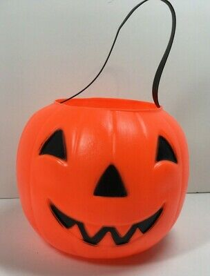 Vintage Empire Halloween Pumpkin thick Blow Mold Candy Pail Bucket Trick Treat
