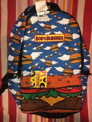 Bobs Burgers Laptop Backpack Flying Hamburgers Cheeseburgers Angel Wings NEW Nwt](Hamburger Backpack)