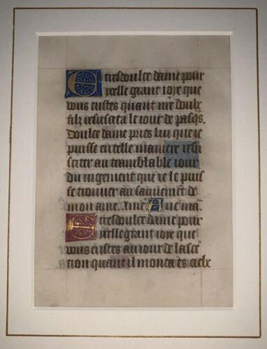 RARE, MEDIEVAL ILLUMINATED MANUSCRIPT LEAF ON VELLUM, 15th CENTURY, c.1400-1499