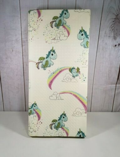 JumpOff Jo Large Play Mat - 70 in. x 59 in, Double-Sided Design: Floral, Unicorn