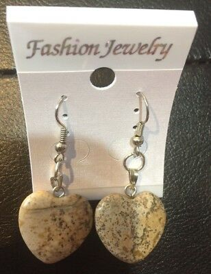 Stone Heart Dangling earrings Unique Christmas Gift Western Jewelry Costume Art (Unique Christmas Costume)