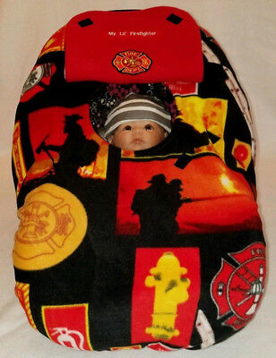 Car Seat Cover Firefighter Baby! Red Fleece n Patch Custom Embroider Cozy Infant