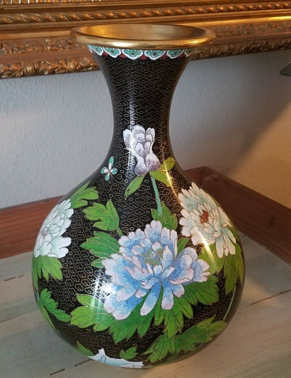 Antique Old Cloisonne Tall Vase Black Background With Chrysanthemums Butterfly s - $39.99