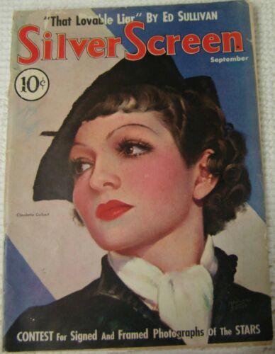 Vintage Silver Screen Magazine September 1935 Claudette Colbert