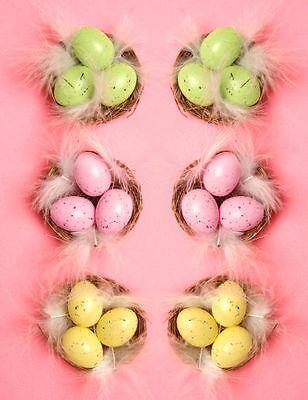 6 Mini Huevos de Pascua & Nidos Decoración Gorro Arreglos Florales Artesanía