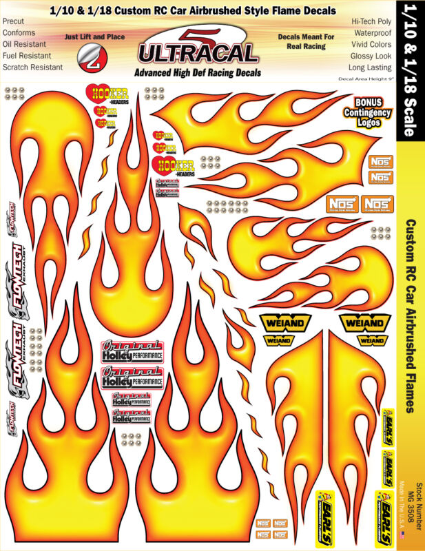 MG3508 - 1/10 - 1/18 Custom RC Car Airbrushed Style Flame Decals