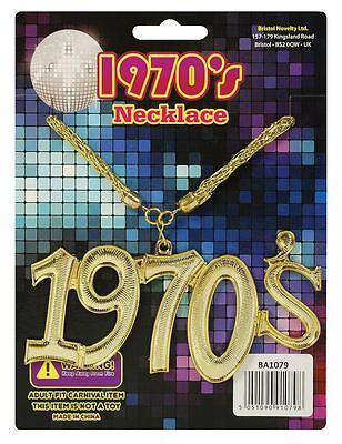 1970's Jahre Halskette Disco Fever Gold Bling Kostüm Zubehör