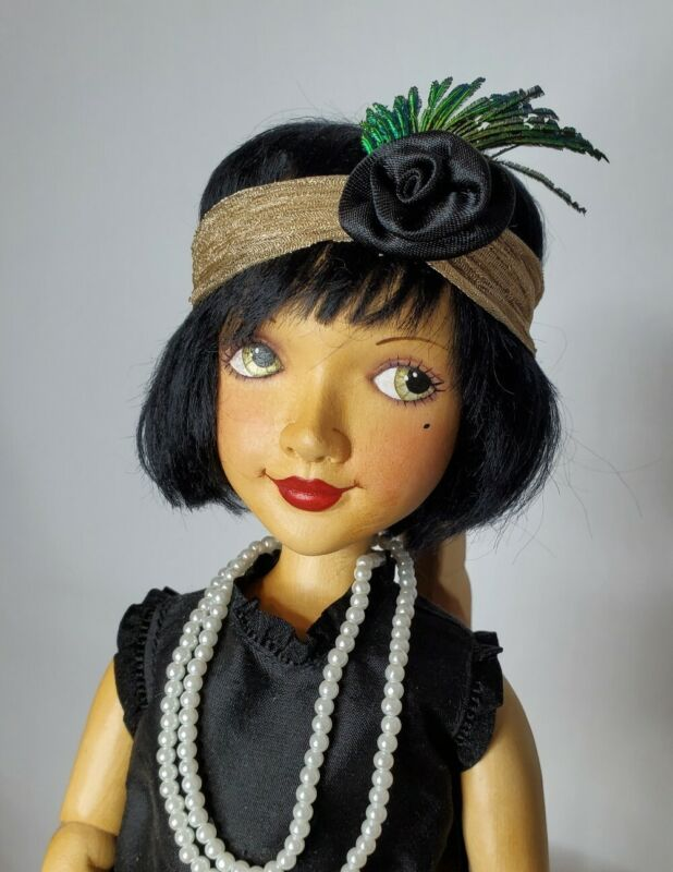 """Xenis Collectible Limited Edition, """"Suzy"""" (Flapper) Wooden Doll, #7/230"""