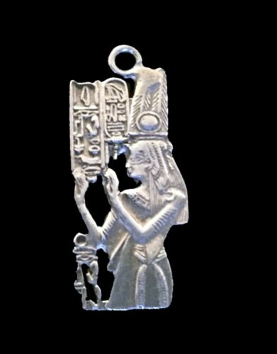 Sterling Silver Charm - Cleopatra holding Cartouche  / Ancient Egyptian Symbol