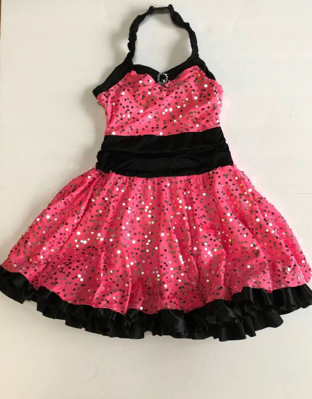 Custome Gallery Hot Pink & Black Sequined Dance Competition Costume Child's XL