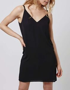 TopShop Cross Back Slip Dress Size 8 PETITE Black Twin Strap Cami RRP £29.00