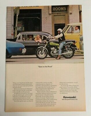 1974 Kawasaki Motorcycle Eyes On The Road Print Ad Advertising Vintage