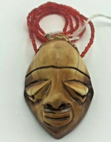 Antique African Pende Tribal Ikhoko Pendant Carve Talisman Amulet Necklace Congo