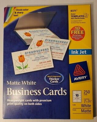 Avery 8371 Ink Jet Business Cards Matte White 150 Cards New 2 By 3 12