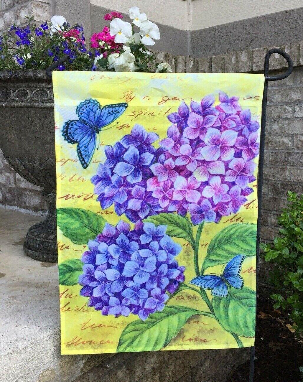 Evergreen Decorative Double-sided Garden Flag- Blue Hydrange