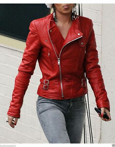 Red-Women-039-s-Moto-Lambskin-Real-Leather-Jacket-Motorcycle-Slim-fit-Biker-Jacket