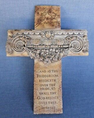 The Bridegroom Cross Scripture Wall Decor Isaiah 62:5 Simulated Stone