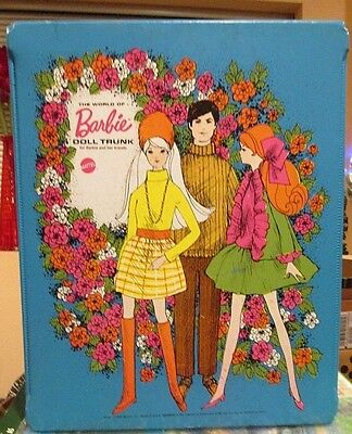 """1969 MOD """"BARBIE"""" DOLL CARRY CASE~DOUBLE TRUNK~*The World of Barbie*+Her Friends"""
