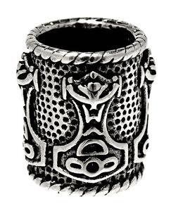 1291-Perlas-Barba-Martillo-de-Thor-PELO-Odin-ACERO-inox-adorno-piezas-Par-8mm