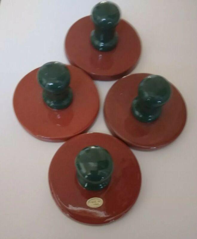 Terracotta Cookie Stamps Ceramic Handles Set of 4