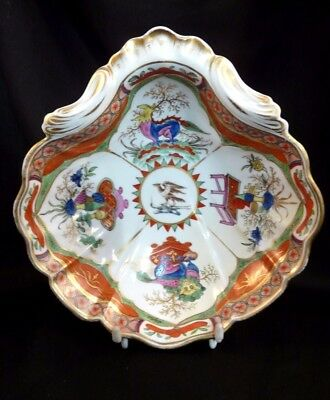Chamberlain's Worcester scalloped sweetmeat dish armorial pattern 75- 18th C