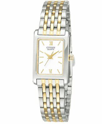 Citizen Women's Quartz Silver & Gold-Tone White Dial l18mm Watch EJ5854-56A