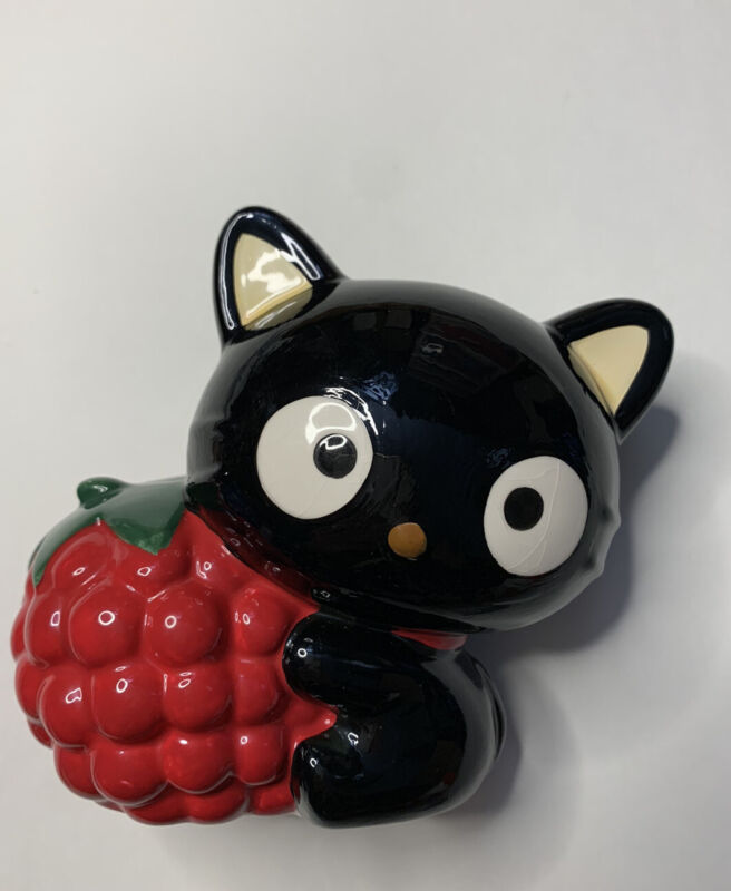 Sanrio Vintage 2002 Chococat Black Cat Raspberry Ceramic Coin Bank Plush Trinket