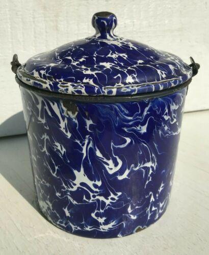 Vintage Cobalt Blue and White Swirl Graniteware Berry Bucket Pail Old Original