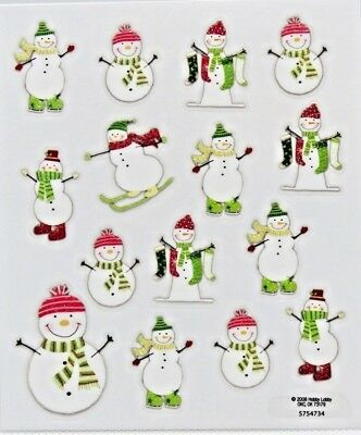 Snowman Skiing Christmas Stockings Scarf Glitter Winter PS Clear Stickers Clear Glitter Stickers