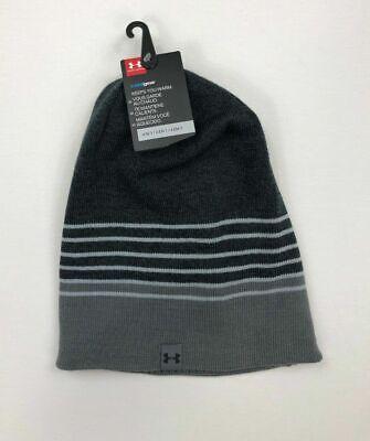 Under Armour Mens Beanie Hat UA 4 in 1 ColdGear Knit Gray Stripe 14ce6acb5e7d