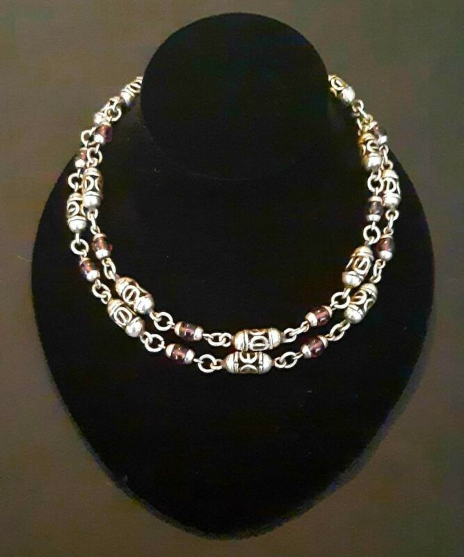 HEAVY! 96 grams ! BEAUTIFUL LONG TAXCO 925 NECKLACE CHAIN W/ AMETHYST BEADS.