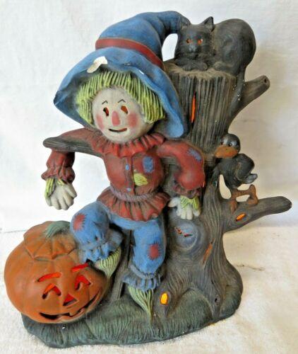 VINTAGE Ceramic HALLOWEEN Witch SCARECROW PUMPKIN LIGHTED