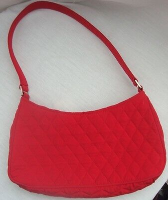 VERA BRADLEY TRUE APPLE RED QUILTED SMALL SHOULDER HOBO BAG GOLD TONE Z-PULL EUC ()