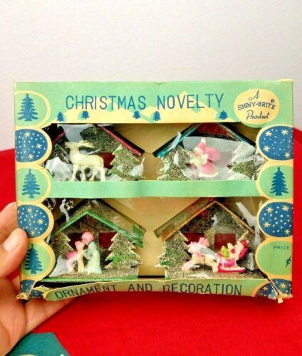 Vintage Box of 4 Christmas Tree Ornaments Shiny-Brite Product Japan w/Box