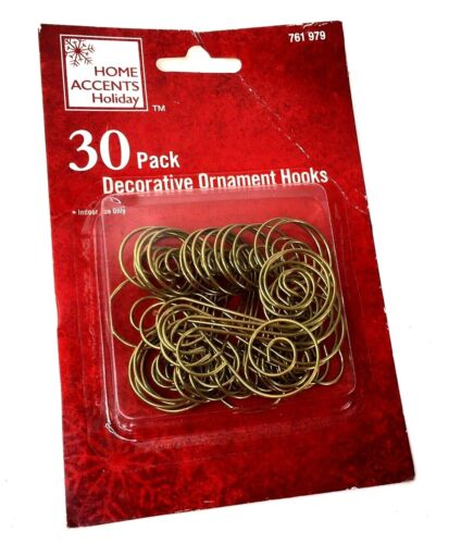 Home Accents 30 Pack Gold Decorative Ornament Hooks Brand New