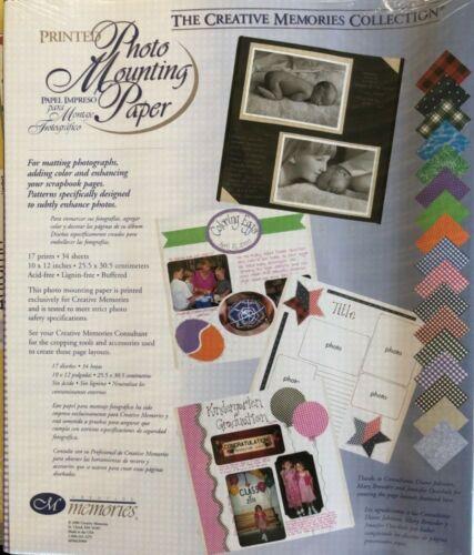 "Creative Memories PRINTED PHOTO MOUNTING PAPER PACK - 34 x 10"" X 12"" - RARE!!!"