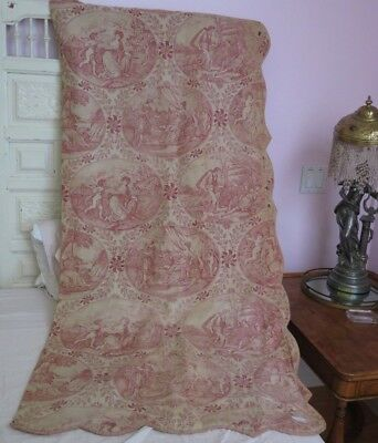 """Hand Blocked French Antique Faded Red & White Linen Toile Fabric Panel~69""""LX29""""W"""