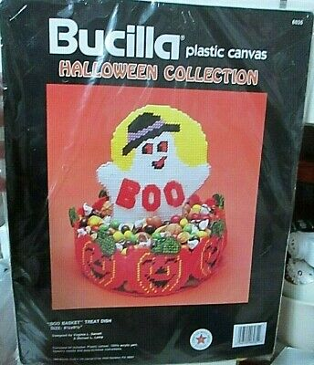 Vtg 90s Bucilla Plastic Canvas Halloween BOO BASKET TREAT DISH kit Ghost pumpkin