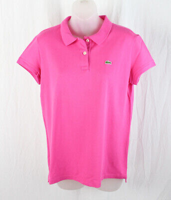 Lacoste Women's Hot Pink Short Sleeve Polo Tee Shirt Top Size 46 14