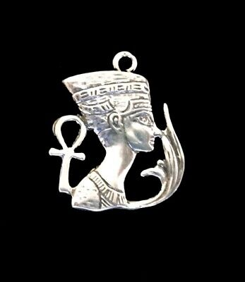 Sterling Silver Charm - Nefertiti with Ankh and Lotus  /Ancient Egyptian Symbol