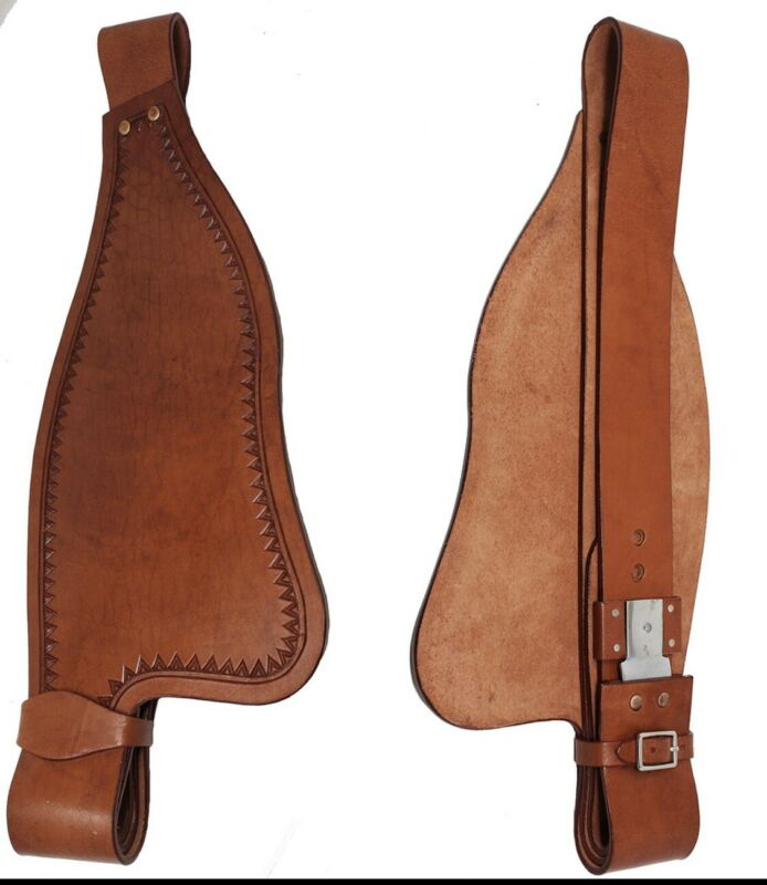 Western Brown Leather Shaped Full Size Fender for Western Saddle