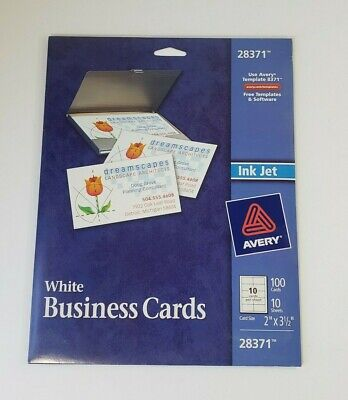 Avery 28371 White Ink Jet Printer Business Cards 100 Cards New