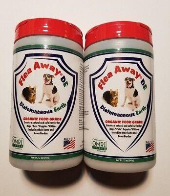Natural Pet Flea Away DE Organic Diatomaceous Earth *2* Safe Dog Cat Home 24oz
