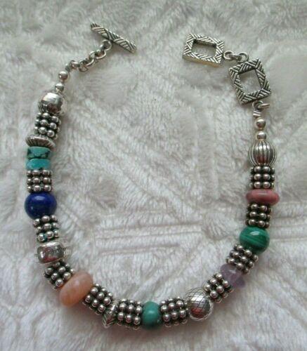"CAROLYN POLLACK RELIOS 925 Sterling Silver Multi-Beaded Gem 7.5 - 8"" Bracelet"