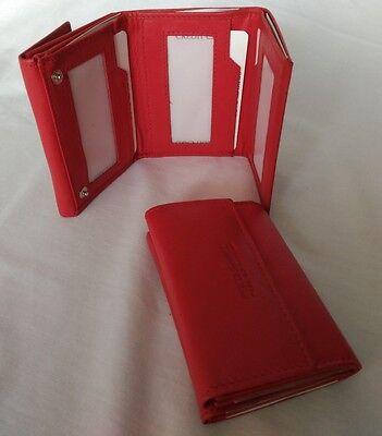 cartera piel mujer billetero monedero color rojo completa ref 087