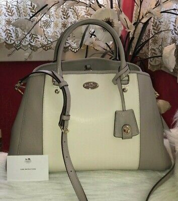 *Barely Used* Coach *Margot* Satchel Leather Shoulder Bag, RRP £297 - Grey/white